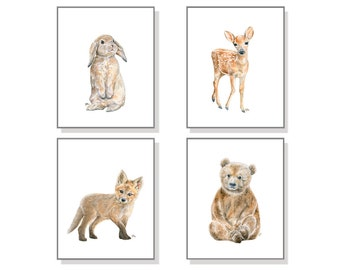 Woodland Nursery Art Woodland Nursery Decor Forest Nursery Prints Nursery Wall Art Baby Animal Nursery Baby Animal Prints Kids Watercolors 4