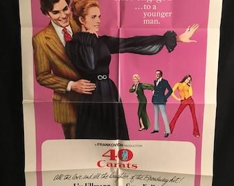 Original 1973 40 Carats One Sheet Movie Poster, Liv Ullman, Gene Kelly, Forty, Diamond, Ring