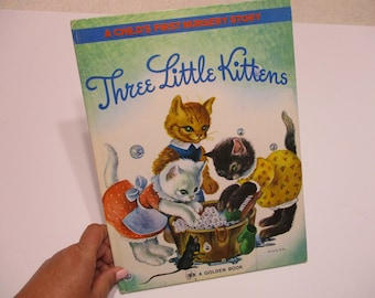 Vintage Children's Book-Little Golden BIG Book-The Three Little Kittens-1942