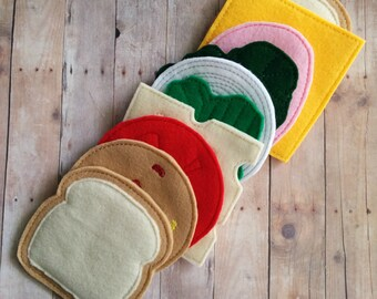 Felt Food Sandwich Play Set, 10 Pieces, Embroidered Acrylic Felt, USA Made, Play Food, Pretend Play, Bread, Cheese, Meat, Lettuce, Tomato