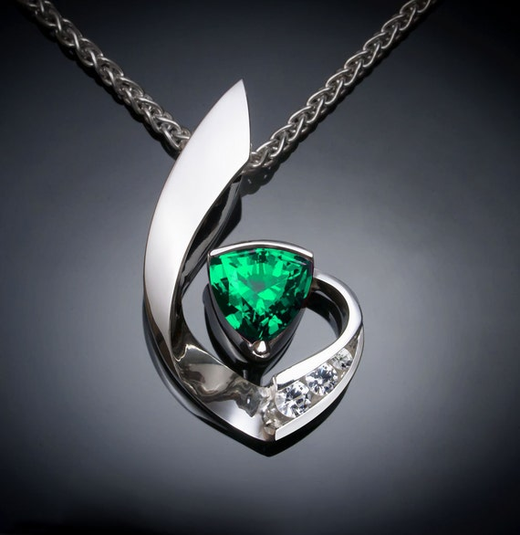 emerald necklace, emerald pendant, May birthstone, fine jewelry, white sapphires, brilliant necklace, artisan gift, Christmas gift  - 3466
