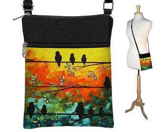 MadArt Sling Bag Shoulder Purse Crossbody Bag Small Travel Purse Zipper Fits most eReaders - Birds of a Feather RTS