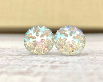 Iridescent Snowflake on Shimmering Glitter, Small Winter Stud Earrings with Surgical Steel Posts (SE13)