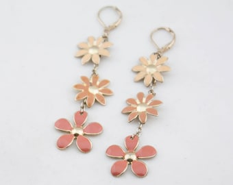 Vintage Long Silver Tone Chain Coral Red Enamel Flower Dangle Earrings