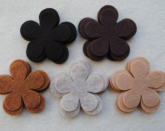 30 Piece Die Cut Felt Flowers, Browns, Flower Style No. 5A
