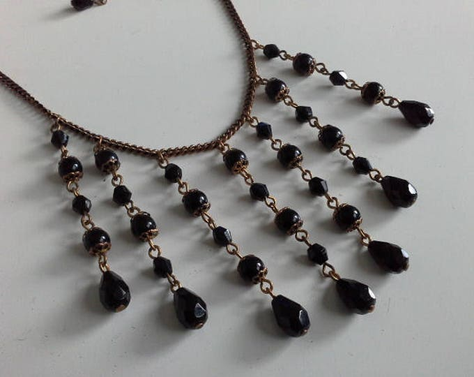 Vintage Black Faceted Glass Bead Copper Dangley Bib Choker Necklace Victorian Style