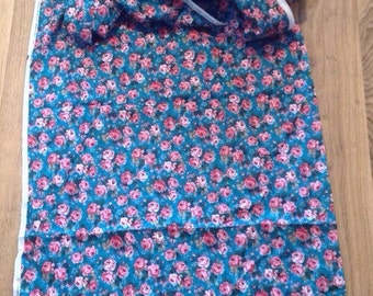 1990's turquoise with pink and mauve roses,patterned fabric, 3 yards 31 inches x 44 inches