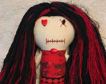 "Creepy n Cute Zombie Doll ~ ""Black with Red Flowers"" Gal (P)"