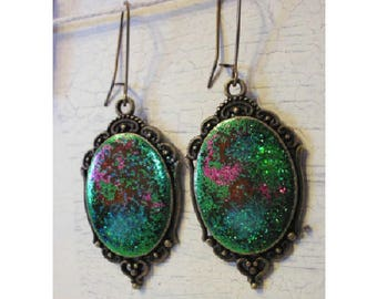 Earrings cabochon multicoloured galaxy medieval influence