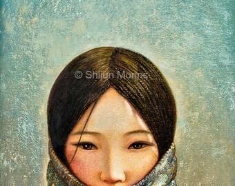 Girl art print, Blue Girl, giclee print by Shijun Munns, Spiritual Art, golden color wall art, ethnic woman, gift