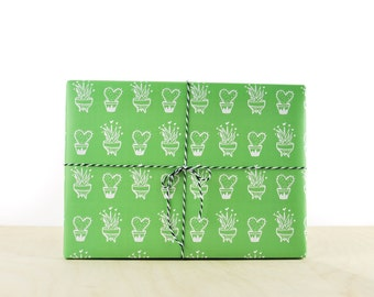 Cactus Gift Wrap Green, gift wrap paper, designer wrapping paper, mini cactus, flowering cactus, types of cactus plants, nopal cactus