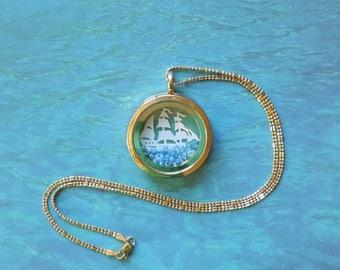Custom Jewelry Sailing Ship Glass Beads Glass and Metal  Floating Story Locket