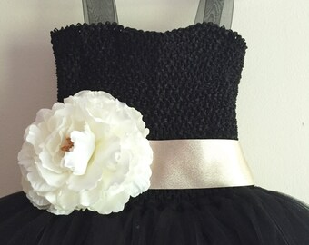 Black Tulle Flower Girl Dress With Sash & Flower, black dress, black tulle party dress, satin sash with flower