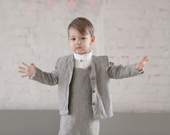 Toddler blazer Boys suit Linen Jacket Toddlers Boys blazer Wedding party jacket Ring bearer suit Baptism clothes