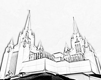 Digital Download: San Diego California Temple Pencil Effect