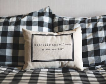 Personalized pillow, couples pillow, wedding pillow , 2nd anniversary, cotton anniversary, wedding gift, Christmas gift, valentine gift idea