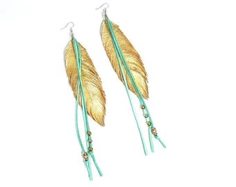 Feather Earrings, Leather Feather Earrings, Boho Earrings, Gypsy Earrings, Boho Bride, Hippie Jewelry, Bridal Earrings, Boho, Hippie, Fringe