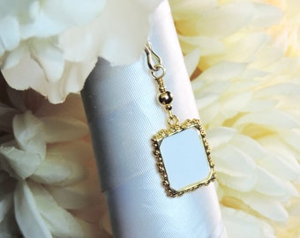 Bride or groom gift. Memorial photo frame charm - gold tones. Small picture frame charm. In loving memory. Wedding photo charm. Unisex
