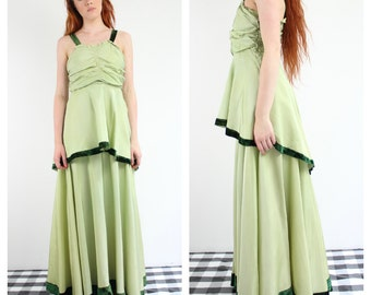 Vintage 1930's Green Evening Gown
