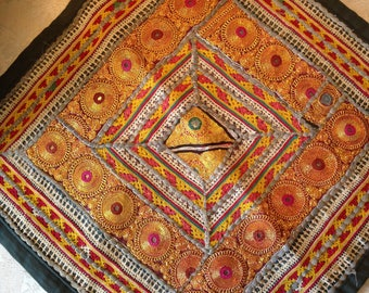 70's bohemian 19 inch square metal thread embroidery. Indian. Good