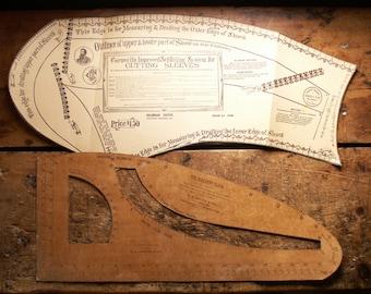 Vintage Merchant Tailor Sleeve Cutting Template - Copyright 1891