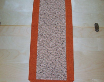 Fall Table Runner Vines & Berries - orange and beige centerpiece topper or scarf
