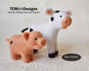 Needle Felting Kit, Cow and Pig, Barn Series, Beginner/Intermediate Level Fiber Art Kit