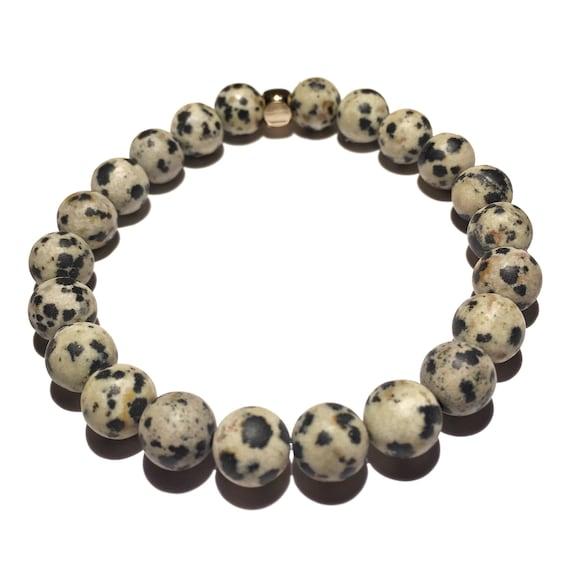 Dalmation Jasper beaded bracelets, gemstones, mens, women, unisex, groom, gift, mala, yoga, meditation, bachelor, natural, healing crystal
