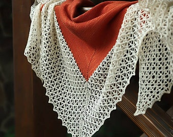 Knitted shawl, oversized lace shawl, extra fine merino wool shawl, triangular shawl, orange shawl, gift for her, women accessory