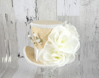Beige and White Polka Dot Rose Garden Large Mini Top Hat Fascinator, Alice in Wonderland, Mad Hatter Tea Party, Derby Hat