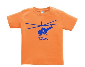 Helicopter Birthday Shirt for kids - any name - you pick the colors!