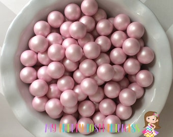 20mm Matte Pale Pink Chunky Beads Pearls Set of 10 **new!!!