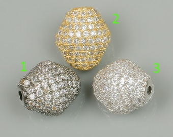 12x14 Puffy Bicone CZ Rhinestone Pave 3 COLORS
