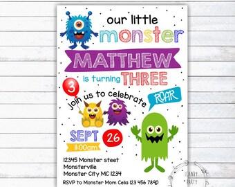 Monster Invitation, Monster Birthday Invitation, Monster Party, Monster Bash, Little Monster, INSTANT DOWNLOAD, printable, editable