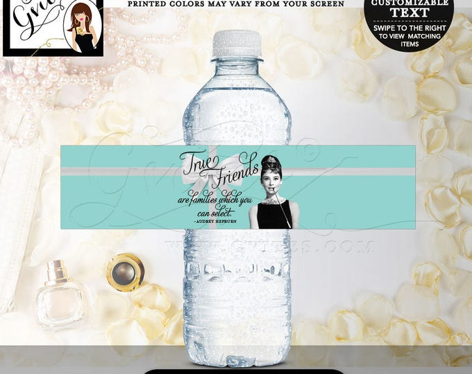 "Breakfast at party, water bottle labels, Audrey Hepburn party stickers, birthday or bridal {8x2"" 5 Per Sheet} CUSTOMIZABLE TEXT"