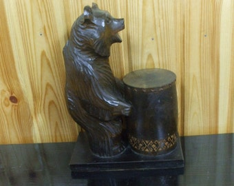 Handmade Sculpture Carved Wood Bear with Barrel Statue