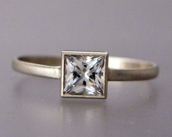 4.5mm Square White Sapphire Engagement Ring in solid 14k white or yellow gold - Princess Cut Diamond alternative