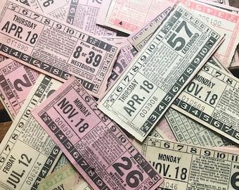 Vintage Transportation Tickets - Set of 10 - Vintage Ticket Stubs, Vintage Paper Ephemera, Vintage Bus Tickets, Old Tickets, Junk Journal