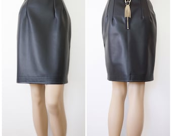 S - Faux Leather Skirt with Metal Hardware | Black skirt | Leather Skirt | Pencil Skirt | Designer Skirt | Sexy Skirt