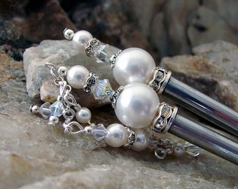 Hair Stick Pairs Crystal and White Pearl Set of Two Hair Sticks Swarovski Crystal and Pearl Hairstick Sets Pair of Hair Pins - Avery 2187