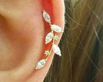 CZ Flower cartilage earring, fashion earrings, elegant ear sweeps, fancy ear Climbers, fashion ear jackets, long flower earrings, line studs
