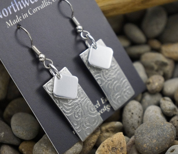 Aluminum earrings on surgical steel ear wires