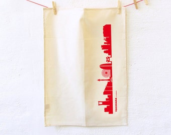 YOKOHAMA BIO Dish towel, Deluxe Natural Cotton Towel, Yokohama skyline print, Green Gift, Yokohama Must-Have, Housewarming Birthday gift