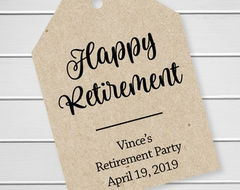 Retirement Favor Tags, Custom Retirement Party Tags, Custom Hang Tags (LLT-399-02-KR)