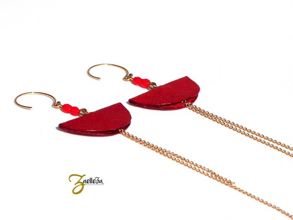 """Earrings 14K gold and red leather - graphic and Chic - model CANCUN """"Mexico Collection"""""""