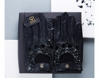 Ladies real leather driving gloves decorated with swarovski crystals