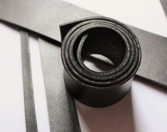 "32 mm 1 1/4"" wide Black Veg Tanned Leather Strip Belt Blank Strap 50"" long  130 cm"