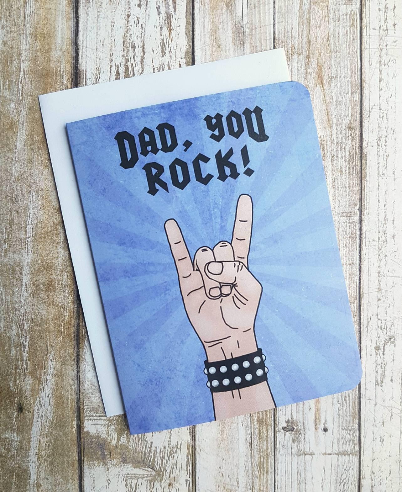 Dad You Rock Greeting Card Fathers Day Card Dad Birthday Fun