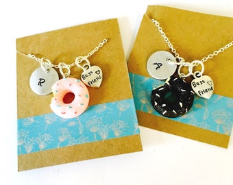 Best Friend Necklace, Donut Necklace, Best Friends Necklace Set, Little Girls Necklace, Best Friends Gift, Kids jewelry
