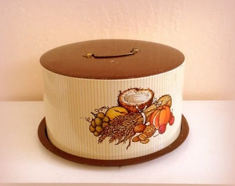50s Cake Saver Carrier Tin - Vintage Ballonoff -  Brown Yellow - Vintage Cake Saver